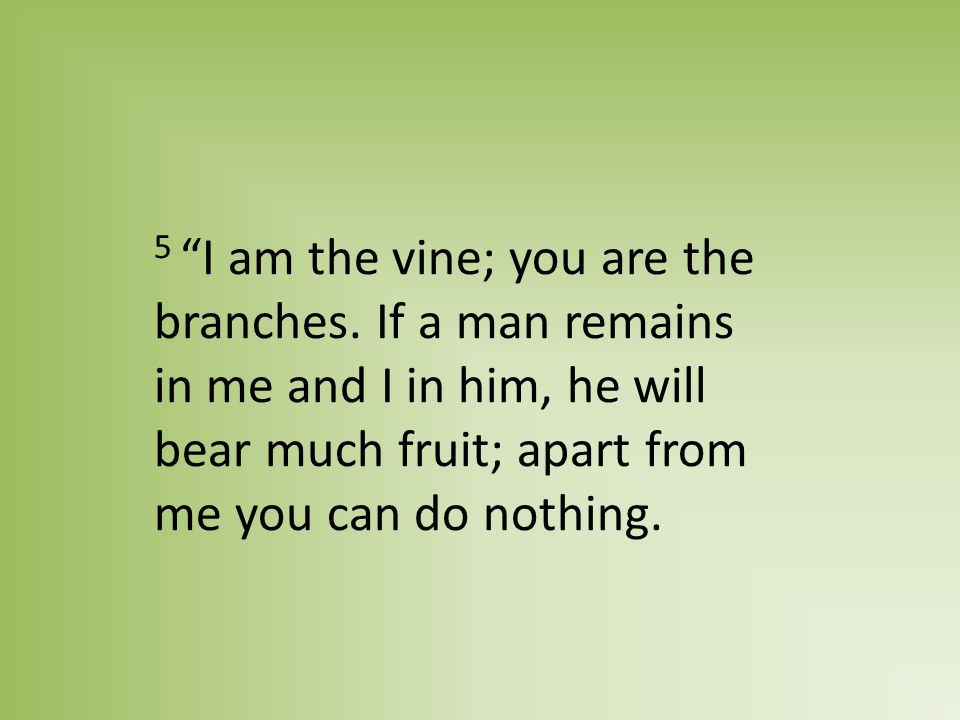 5 I am the vine; you are the branches.