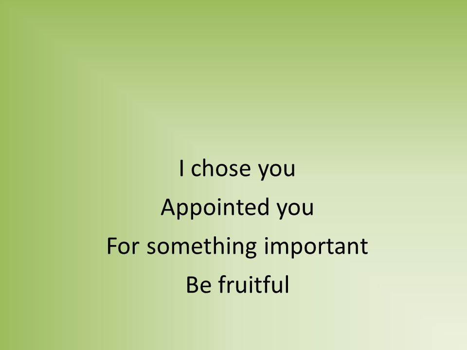 I chose you Appointed you For something important Be fruitful