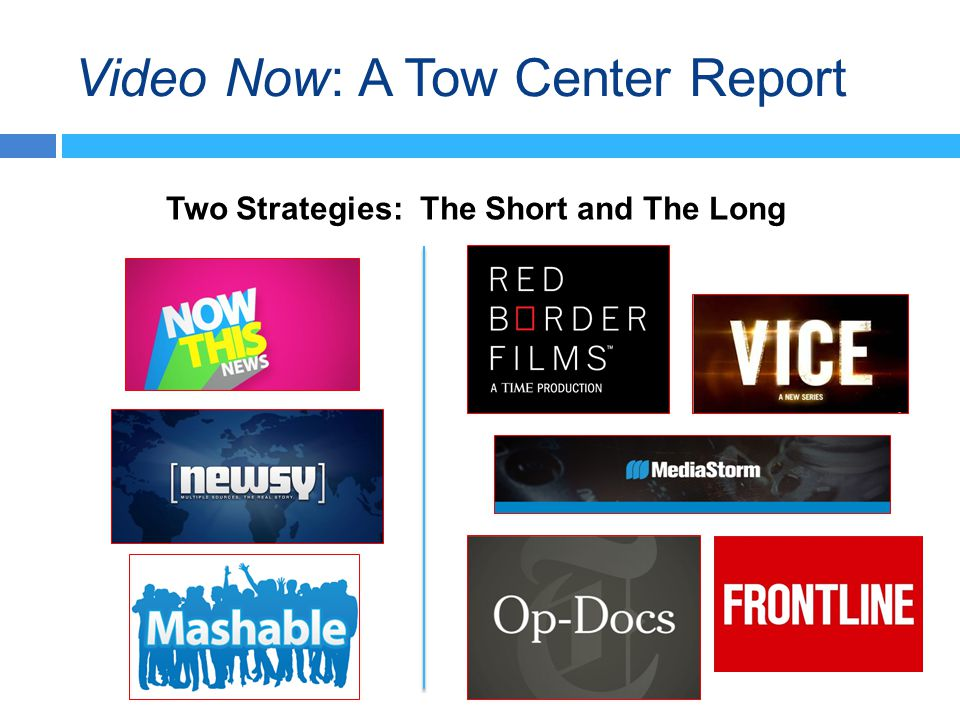 Video Now: A Tow Center Report Two Strategies: The Short and The Long