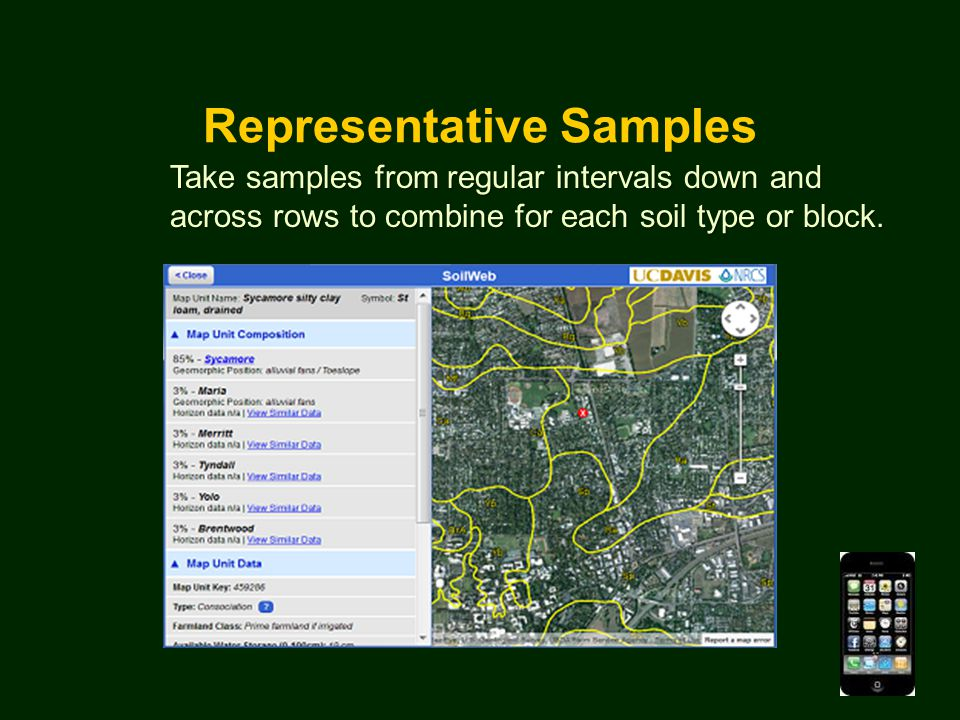 Representative Samples Take samples from regular intervals down and across rows to combine for each soil type or block.