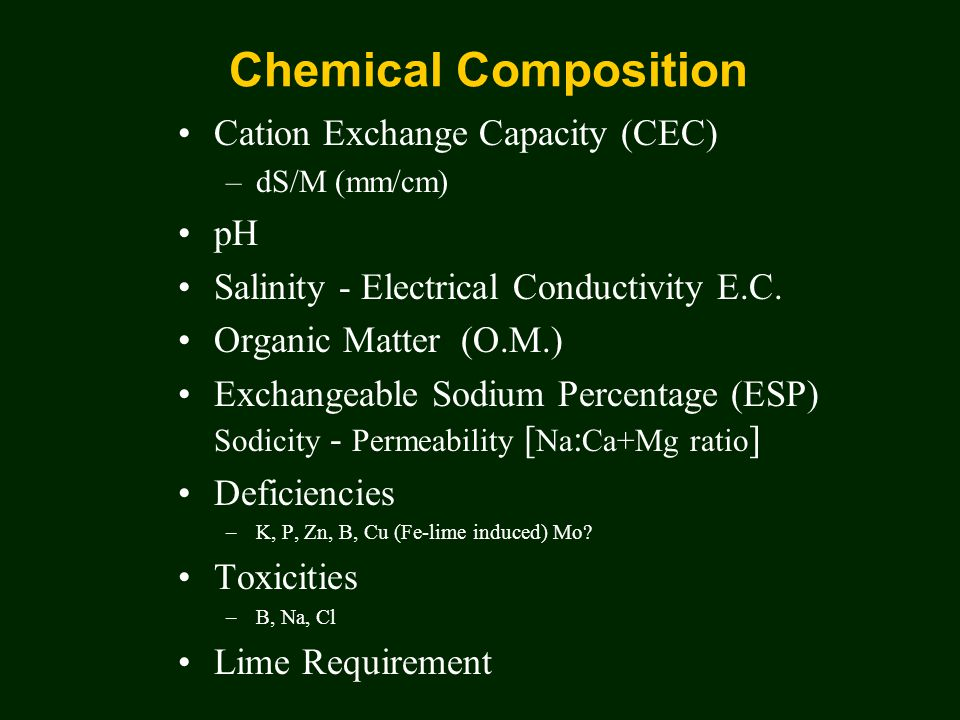 Chemical Composition Cation Exchange Capacity (CEC) –dS/M (mm/cm) pH Salinity - Electrical Conductivity E.C.