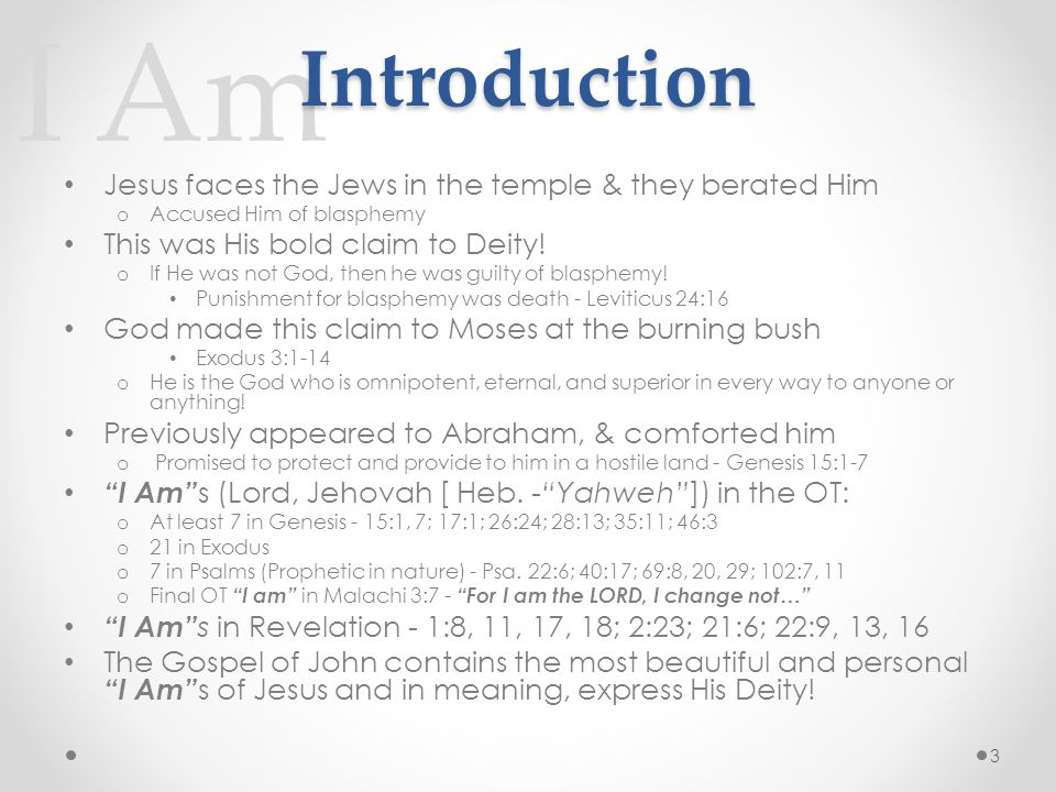 I Am Introduction Jesus faces the Jews in the temple & they berated Him o Accused Him of blasphemy This was His bold claim to Deity.