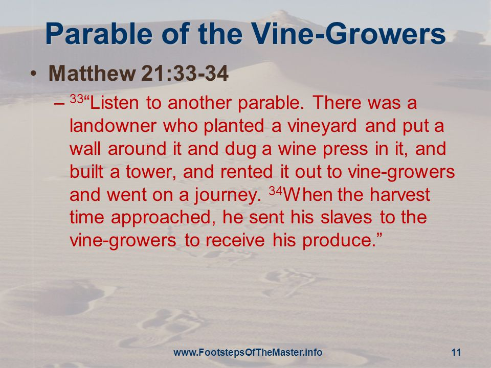 Parable of the Vine-Growers Matthew 21:33-34 – 33 Listen to another parable.
