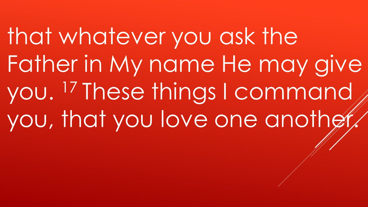 that whatever you ask the Father in My name He may give you.