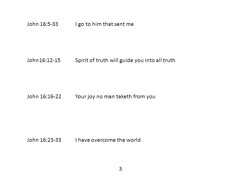 John 16:5-33I go to him that sent me John16:12-15Spirit of truth will guide you into all truth John 16:16-22Your joy no man taketh from you John 16:23