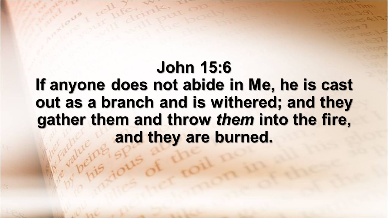 John 15:6 If anyone does not abide in Me, he is cast out as a branch and is withered; and they gather them and throw them into the fire, and they are burned.