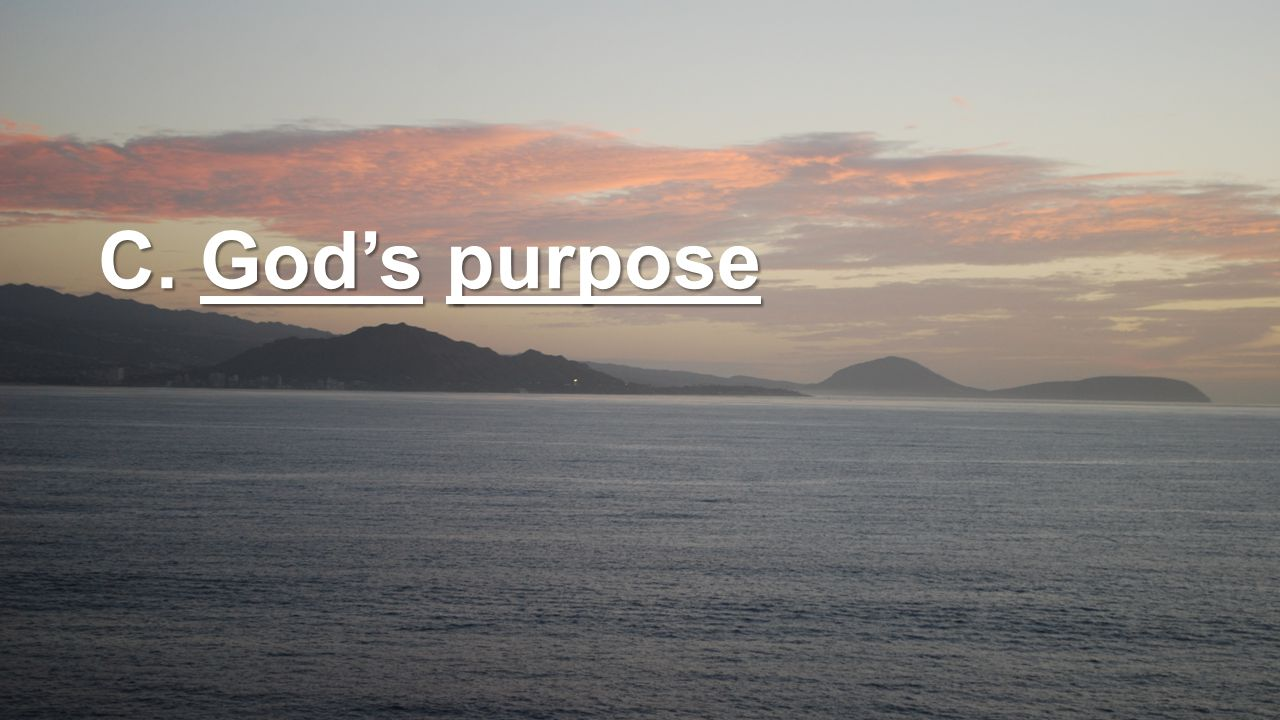 C. God's purpose
