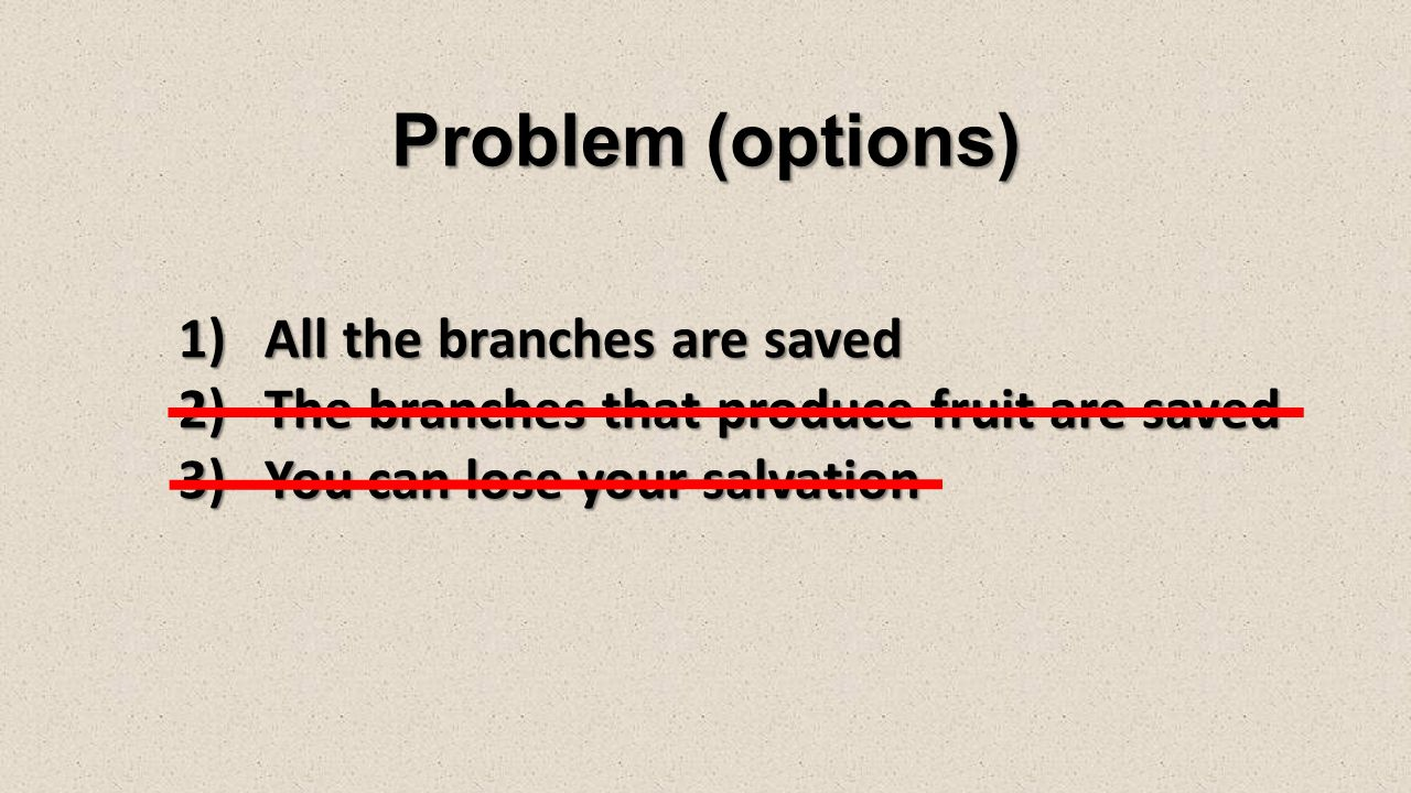 Problem (options) 1)All the branches are saved 2)The branches that produce fruit are saved 3)You can lose your salvation