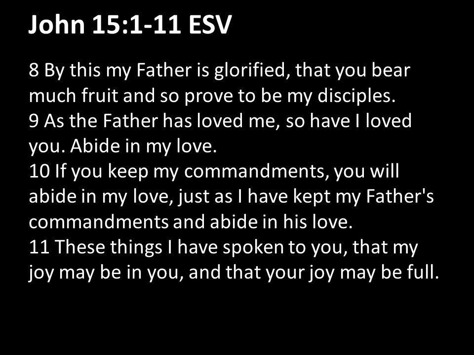 John 15:1-11 ESV 8 By this my Father is glorified, that you bear much fruit and so prove to be my disciples. 9 As the Father has loved me, so have I l