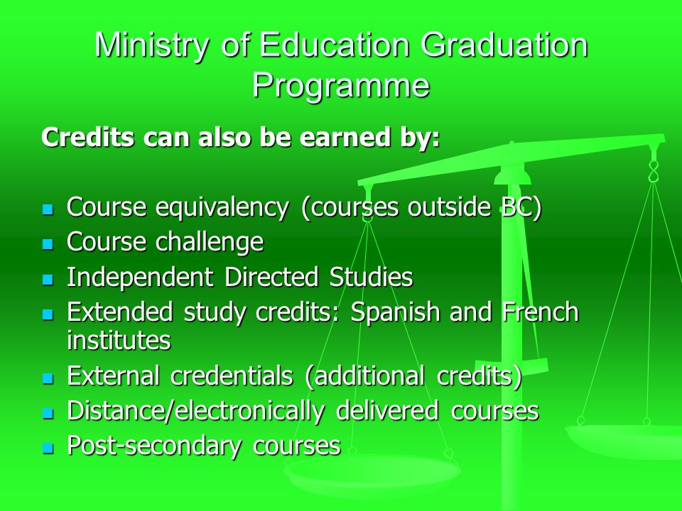Ministry of Education Graduation Programme Credits can also be earned by: Course equivalency (courses outside BC) Course equivalency (courses outside BC) Course challenge Course challenge Independent Directed Studies Independent Directed Studies Extended study credits: Spanish and French institutes Extended study credits: Spanish and French institutes External credentials (additional credits) External credentials (additional credits) Distance/electronically delivered courses Distance/electronically delivered courses Post-secondary courses Post-secondary courses