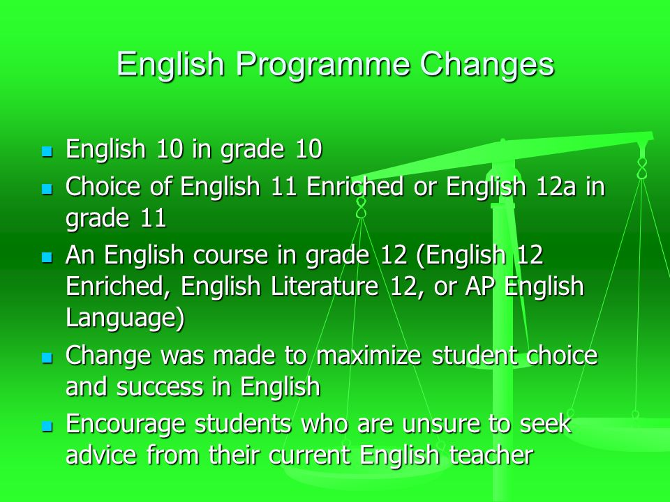 English Programme Changes English 10 in grade 10 English 10 in grade 10 Choice of English 11 Enriched or English 12a in grade 11 Choice of English 11 Enriched or English 12a in grade 11 An English course in grade 12 (English 12 Enriched, English Literature 12, or AP English Language) An English course in grade 12 (English 12 Enriched, English Literature 12, or AP English Language) Change was made to maximize student choice and success in English Change was made to maximize student choice and success in English Encourage students who are unsure to seek advice from their current English teacher Encourage students who are unsure to seek advice from their current English teacher