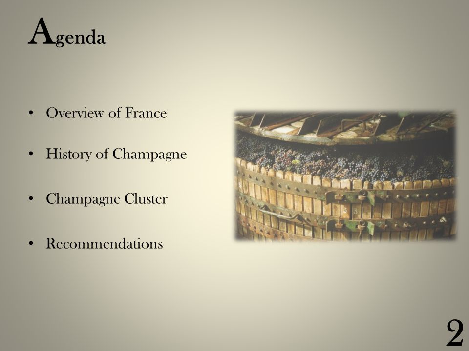 13 STRATEGY & RIVALRY Roles in champagne production Law – barriers to competitiveness DEMAND CONDITIONS Local demand World market China & the emerging markets RELATED INDUSTRIES Glass bottles Packaging Corks Tourism Agriculture Education and R&D FACTOR CONDITIONS Location, climate, terroir Champagne vine growing Capital availability Infrastructure Government Institutions: CIVC & INAO