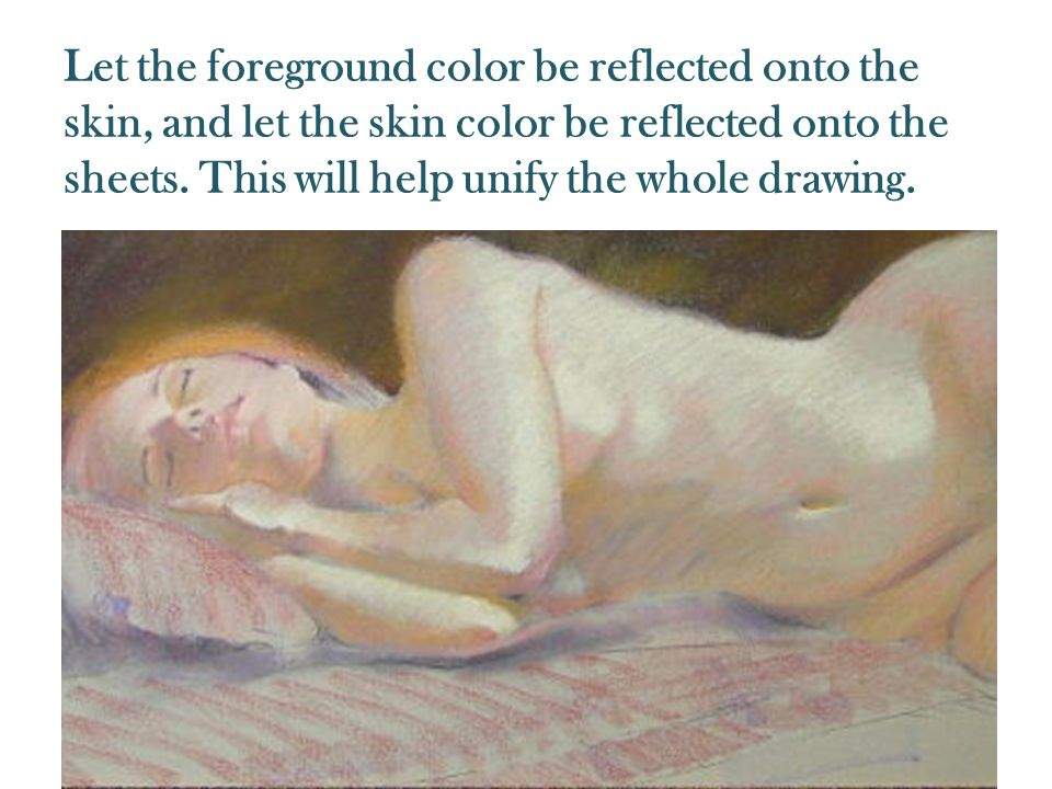 Let the foreground color be reflected onto the skin, and let the skin color be reflected onto the sheets.