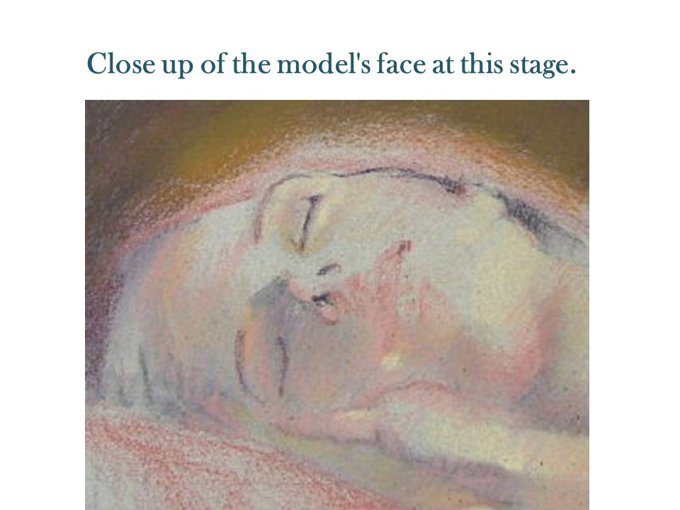 Close up of the model's face at this stage.