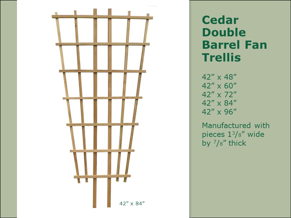 "Cedar Double Barrel Fan Trellis 42"" x 48"" 42"" x 60"" 42"" x 72"" 42"" x 84"" 42"" x 96"" Manufactured with pieces 1 3 / 8 "" wide by 7 / 8 "" thick 42"" x 84"""