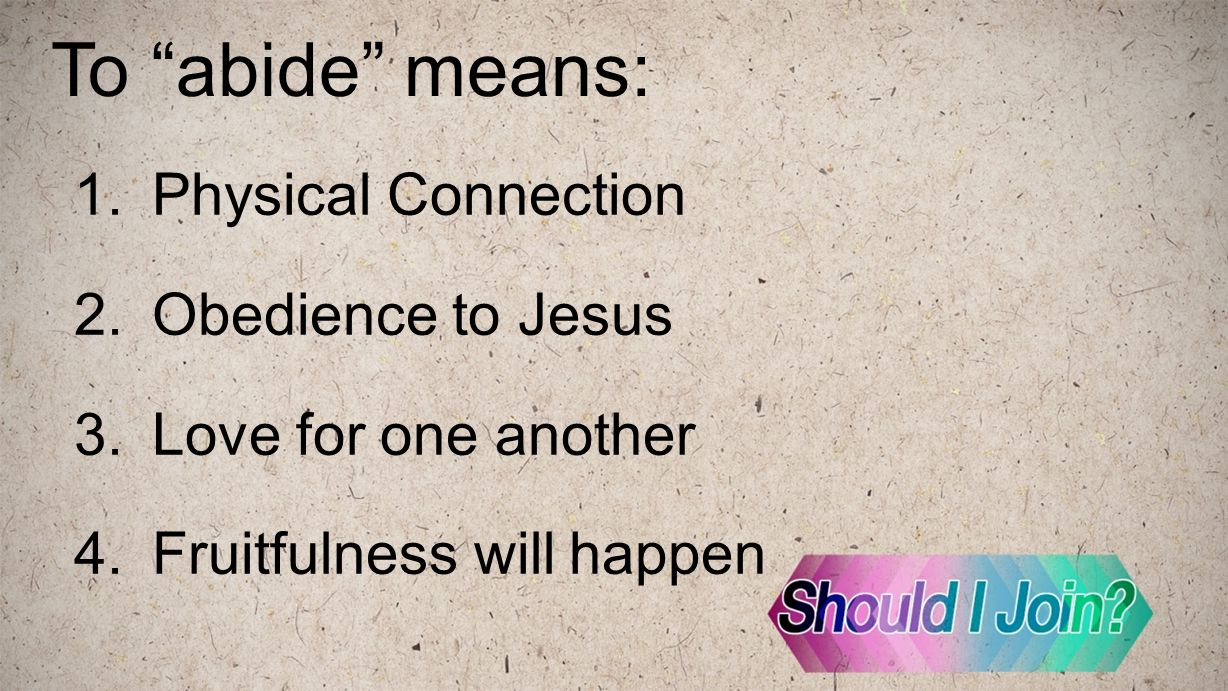 "To ""abide"" means: 1.Physical Connection 2.Obedience to Jesus 3.Love for one another 4.Fruitfulness will happen"