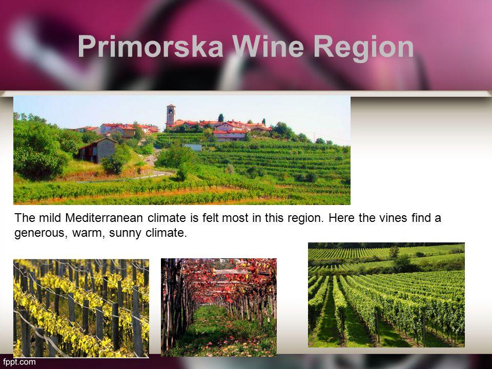 Primorska Wine Region The mild Mediterranean climate is felt most in this region.