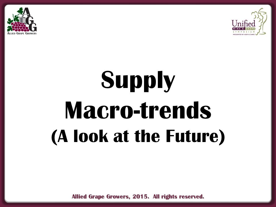 Allied Grape Growers, 2015. All rights reserved. Supply Macro-trends (A look at the Future)
