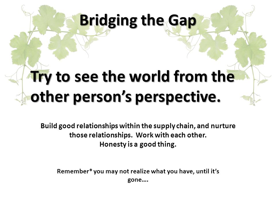 Bridging the Gap Try to see the world from the other person's perspective.