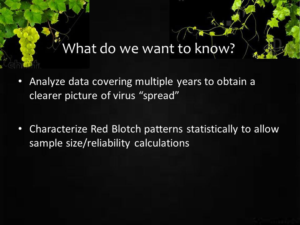 Analyze data covering multiple years to obtain a clearer picture of virus spread Characterize Red Blotch patterns statistically to allow sample size/reliability calculations What do we want to know?