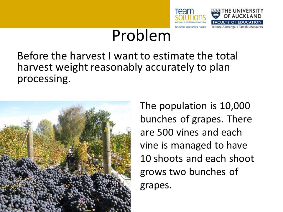 Problem Before the harvest I want to estimate the total harvest weight reasonably accurately to plan processing. The population is 10,000 bunches of g