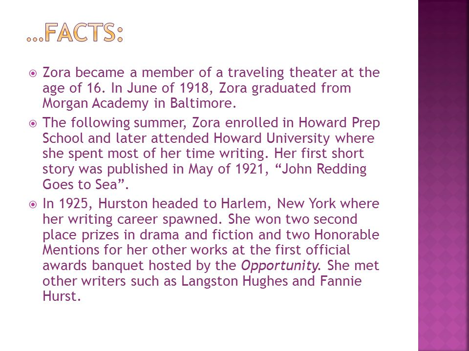  Zora became a member of a traveling theater at the age of 16.