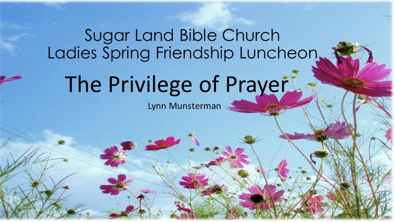 Sugar Land Bible Church Ladies Spring Friendship Luncheon The Privilege of Prayer Lynn Munsterman