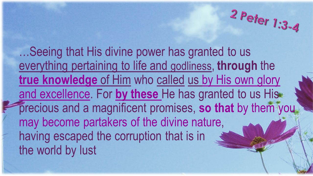 …Seeing that His divine power has granted to us everything pertaining to life and godliness, through the true knowledge of Him who called us by His ow