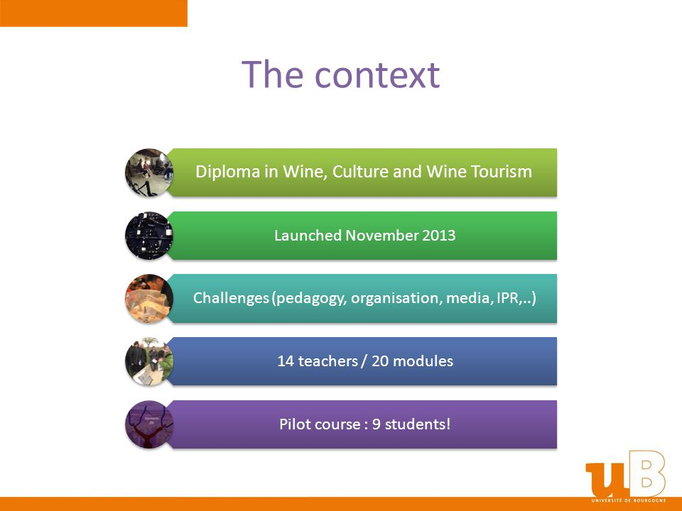 The context Diploma in Wine, Culture and Wine Tourism Launched November 2013 Challenges (pedagogy, organisation, media, IPR,..) 14 teachers / 20 modul