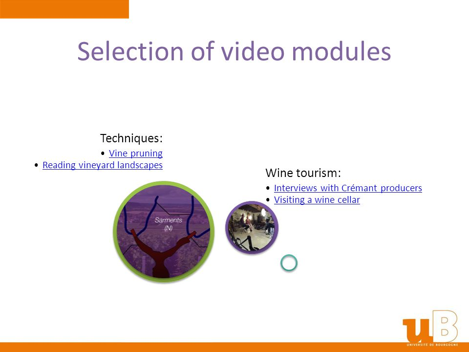 Selection of video modules Techniques: Vine pruning Reading vineyard landscapes Wine tourism: Interviews with Crémant producers Visiting a wine cellar