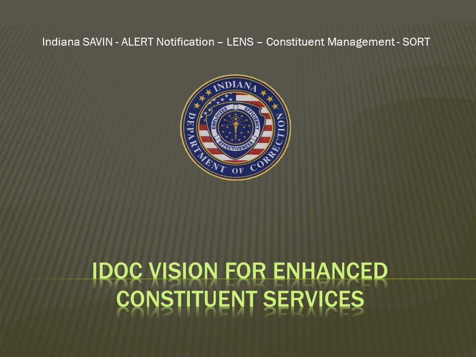 Indiana SAVIN - ALERT Notification – LENS – Constituent Management - SORT