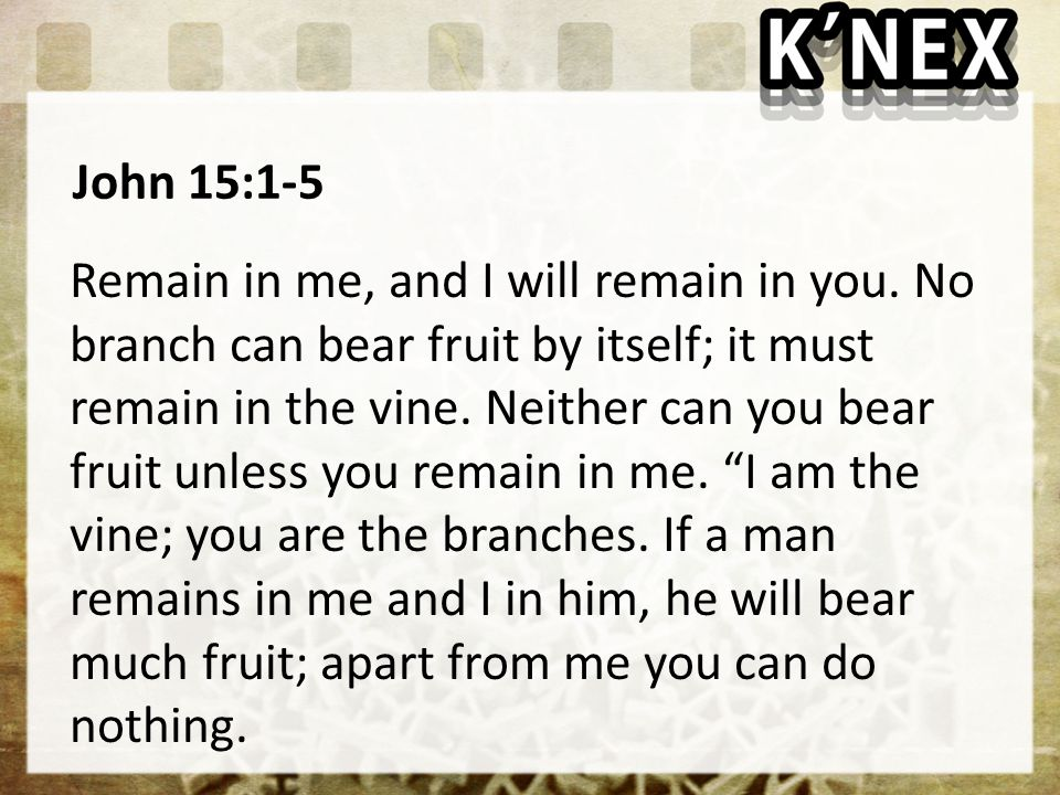 John 15:1-5 Remain in me, and I will remain in you.