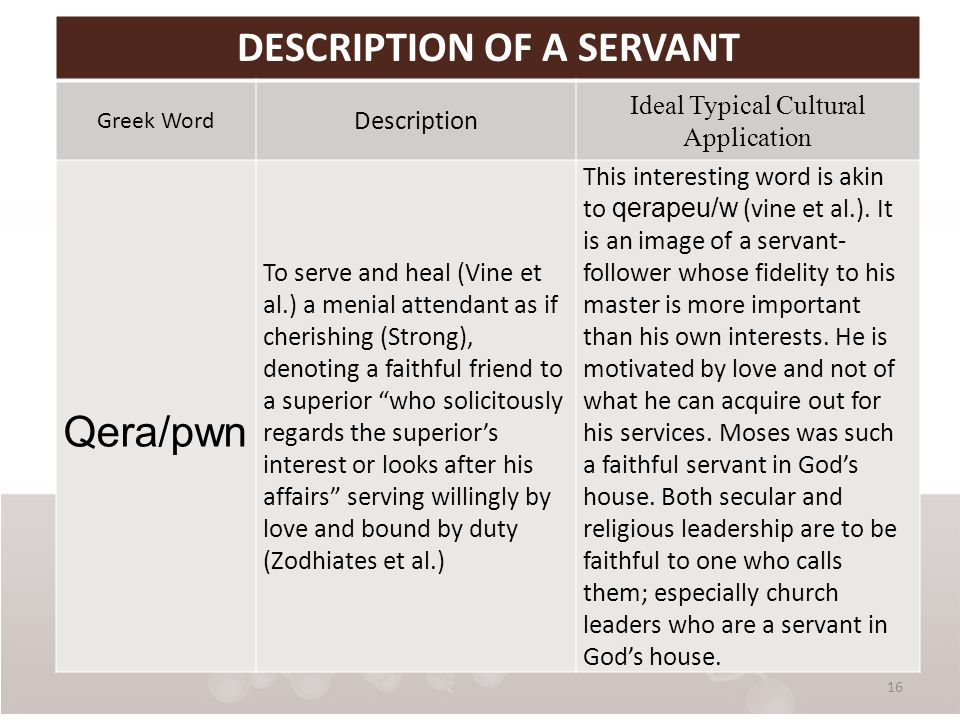 16 DESCRIPTION OF A SERVANT Greek Word Description Ideal Typical Cultural Application Qera/pwn To serve and heal (Vine et al.) a menial attendant as if cherishing (Strong), denoting a faithful friend to a superior who solicitously regards the superior's interest or looks after his affairs serving willingly by love and bound by duty (Zodhiates et al.) This interesting word is akin to qerapeu/w (vine et al.).