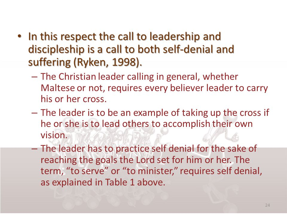 In this respect the call to leadership and discipleship is a call to both self-denial and suffering (Ryken, 1998).