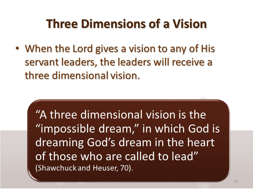 Three Dimensions of a Vision When the Lord gives a vision to any of His servant leaders, the leaders will receive a three dimensional vision.