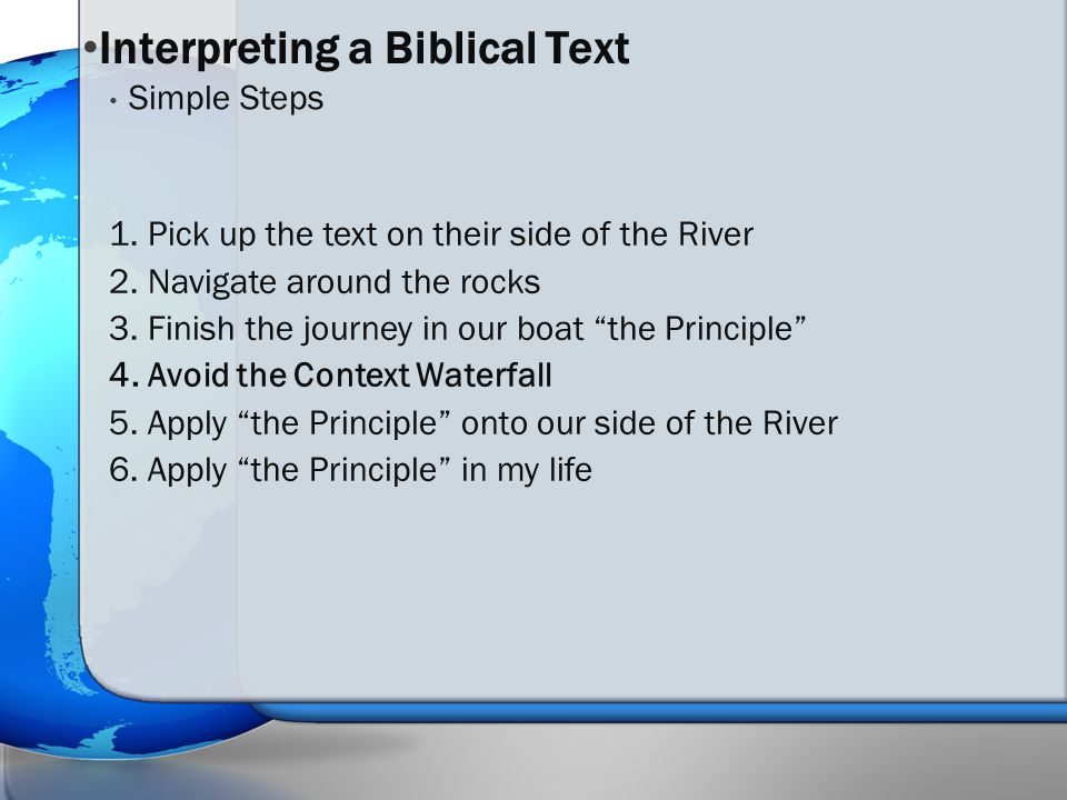 1. Pick up the text on their side of the River 2.