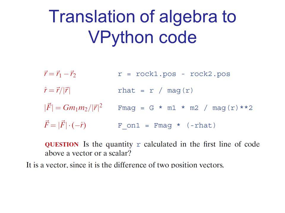 Translation of algebra to VPython code