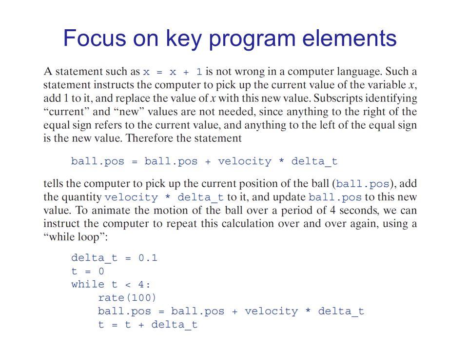 Focus on key program elements