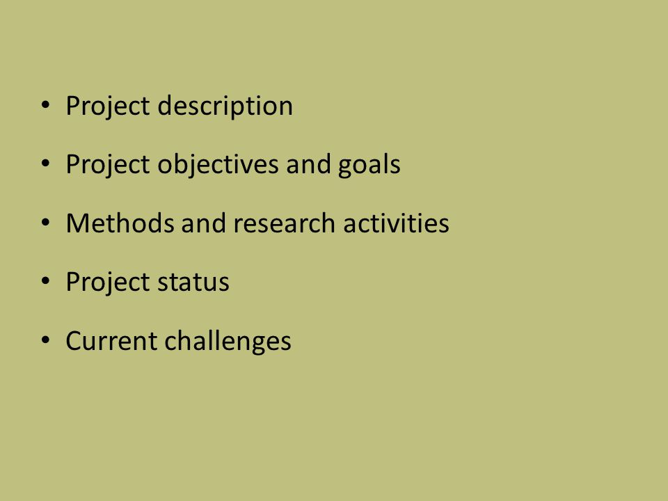 Project description Project objectives and goals Methods and research activities Project status Current challenges