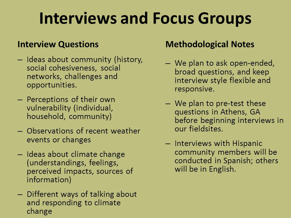 Interviews and Focus Groups Interview Questions – Ideas about community (history, social cohesiveness, social networks, challenges and opportunities.