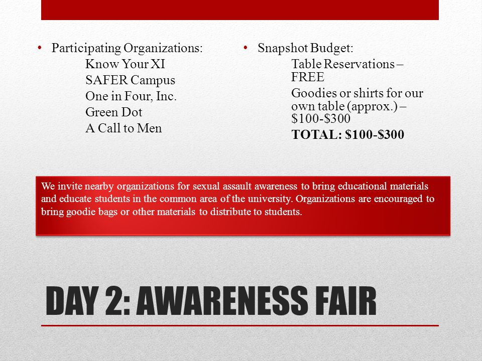 DAY 2: AWARENESS FAIR Participating Organizations: Know Your XI SAFER Campus One in Four, Inc.