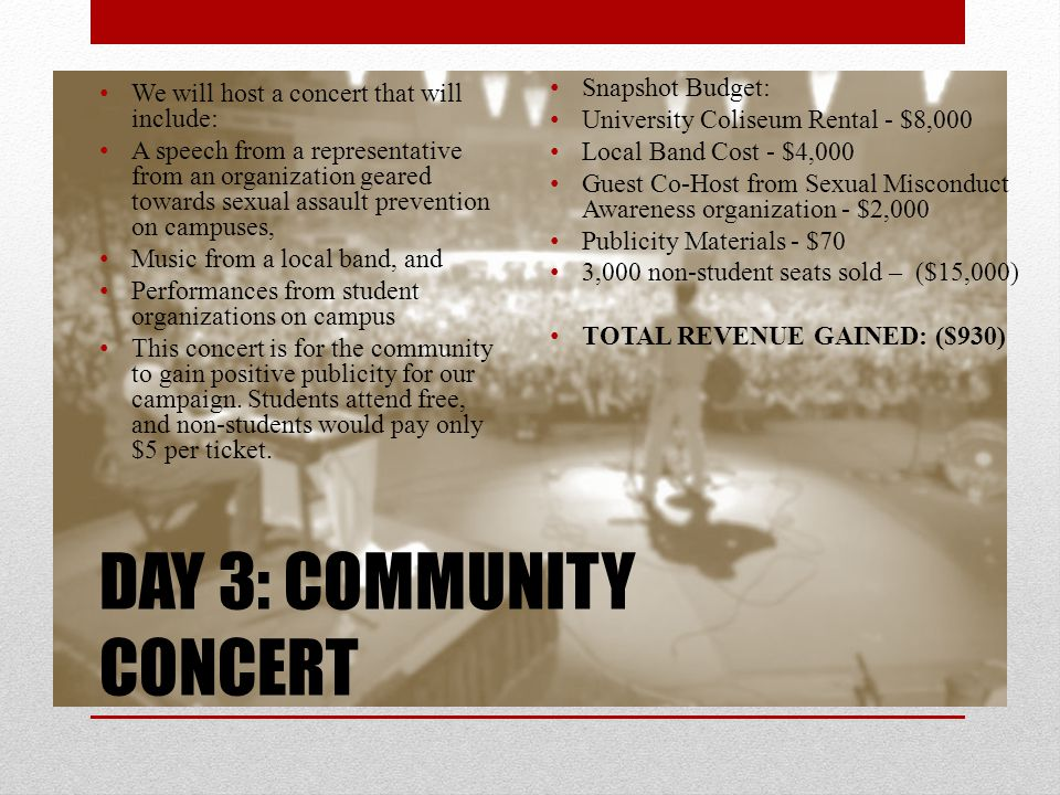 DAY 3: COMMUNITY CONCERT We will host a concert that will include: A speech from a representative from an organization geared towards sexual assault prevention on campuses, Music from a local band, and Performances from student organizations on campus This concert is for the community to gain positive publicity for our campaign.