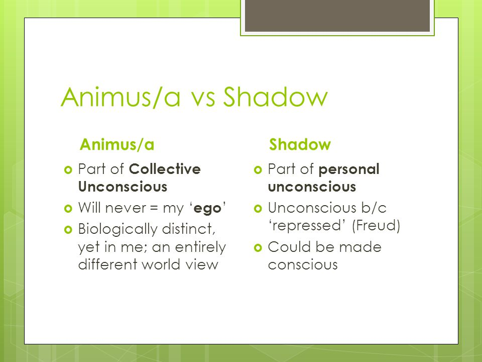 Animus/a vs Shadow Animus/a  Part of Collective Unconscious  Will never = my ' ego '  Biologically distinct, yet in me; an entirely different world view Shadow  Part of personal unconscious  Unconscious b/c 'repressed' (Freud)  Could be made conscious