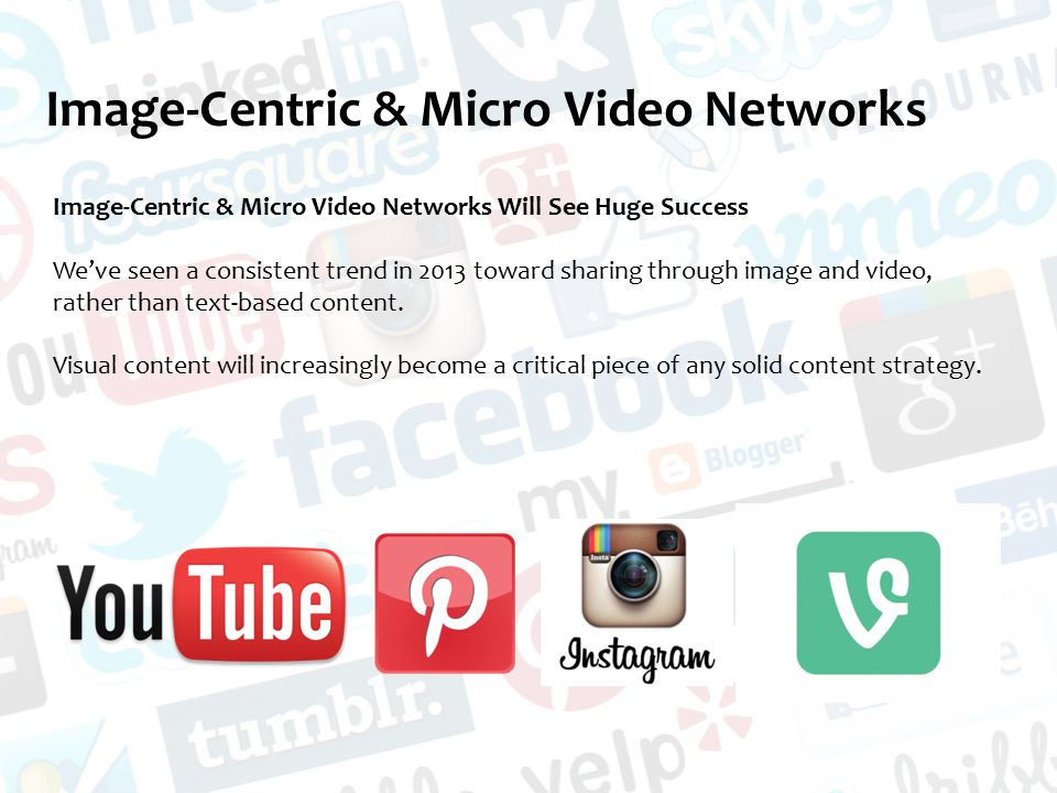 Image-Centric & Micro Video Networks Image-Centric & Micro Video Networks Will See Huge Success We've seen a consistent trend in 2013 toward sharing through image and video, rather than text-based content.