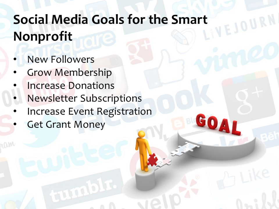 Social Media Goals for the Smart Nonprofit New Followers Grow Membership Increase Donations Newsletter Subscriptions Increase Event Registration Get Grant Money