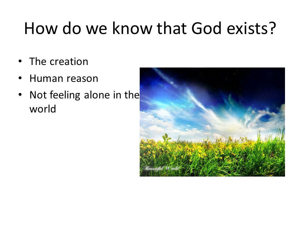 How do we know that God exists? The creation Human reason Not feeling alone in the world
