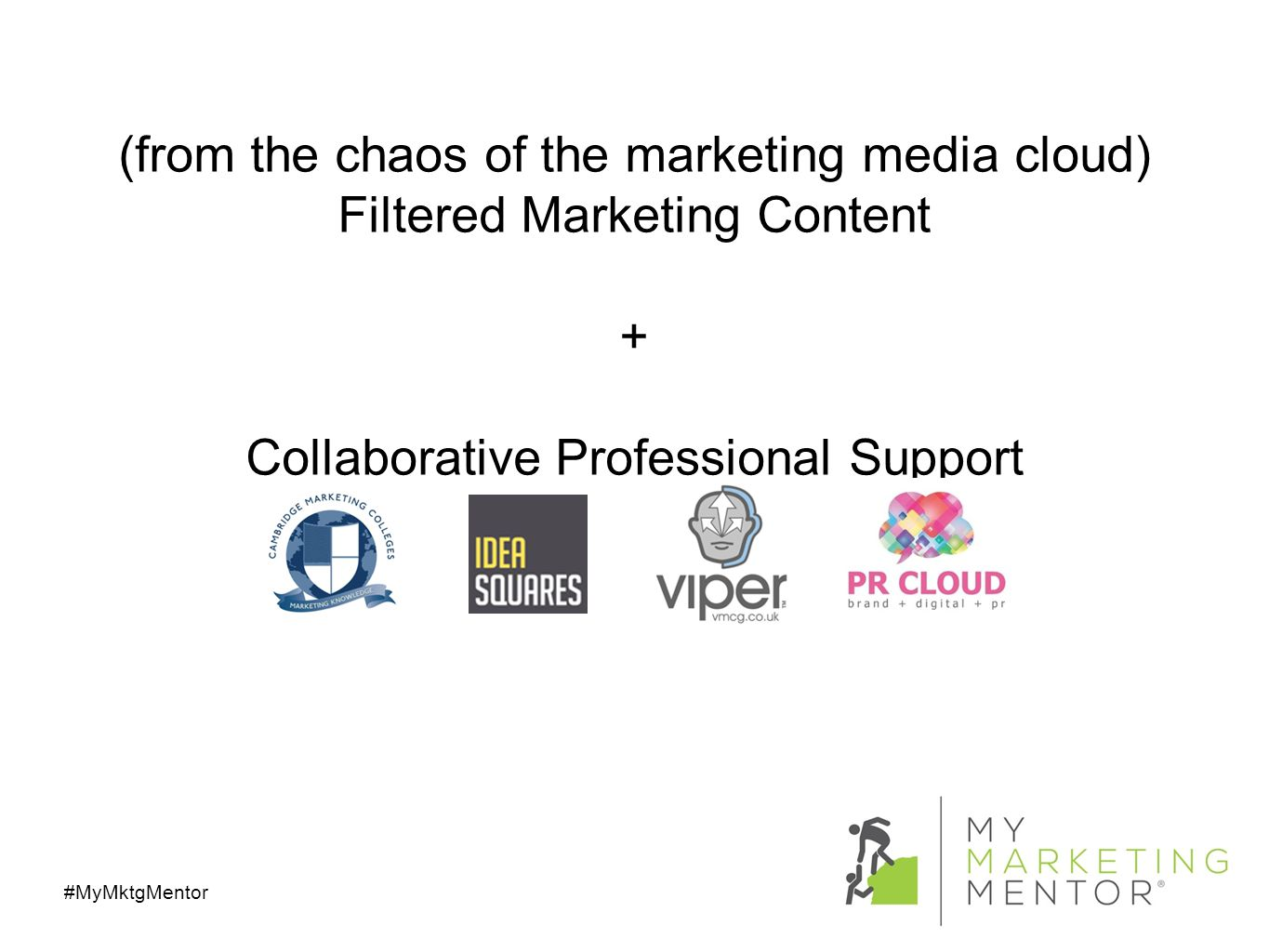 (from the chaos of the marketing media cloud) Filtered Marketing Content + Collaborative Professional Support #MyMktgMentor