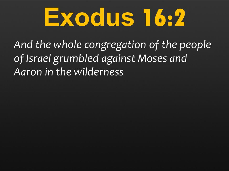 Exodus 16:2 And the whole congregation of the people of Israel grumbled against Moses and Aaron in the wilderness