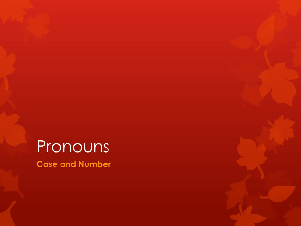 Pronouns Case and Number