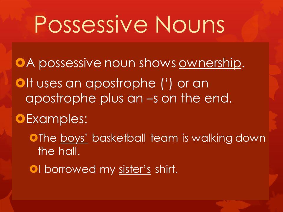 Possessive Nouns  A possessive noun shows ownership.